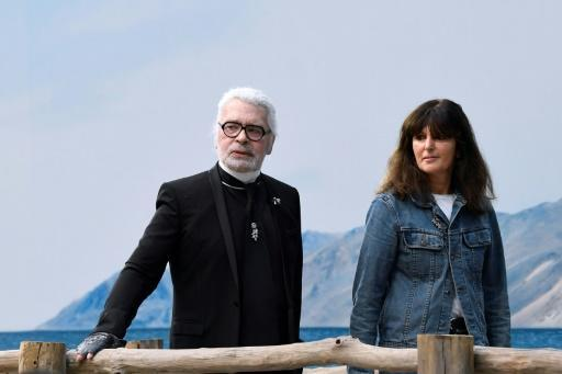 Karl Lagerfeld and Virginie Viard pictured in October 2018, four months before his death
