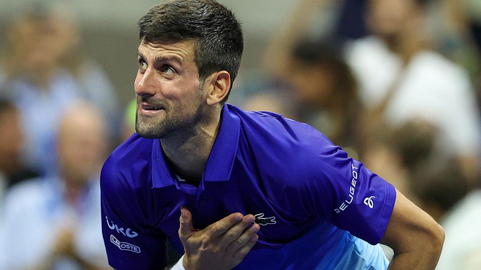 Novak Djokovic will face Alexander Zverev in the semi-finals of the US Open, as he pursues a calendar grand slam. (Photo by Elsa/Getty Images)