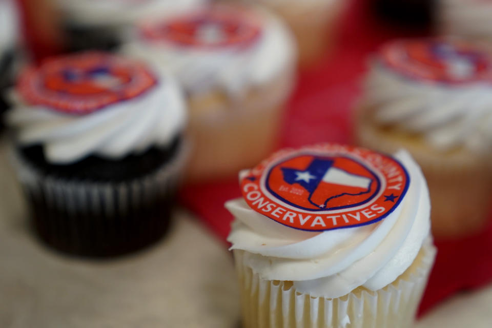 """In this Sept. 22, 2021, photo conservative themed pastries are served at a Cameron County Conservatives event in Brownsville, Texas. Democrats nationally are going bigger than ever on the environment as part of the $3.5 trillion spending package they're trying to muscle through Congress. President Joe Biden has traveled the country personally sounding the alarm, blaming a warming planet for devastation from wildfire-ravaged California to hurricane-battered New York and warning of a """"code red for humanity."""" (AP Photo/Eric Gay)"""