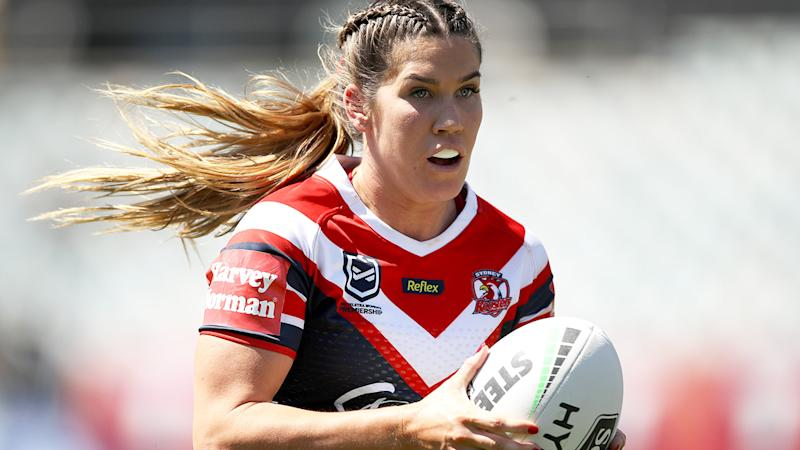 Charlotte Caslick, pictured here in action for the Roosters against St George Illawarra.