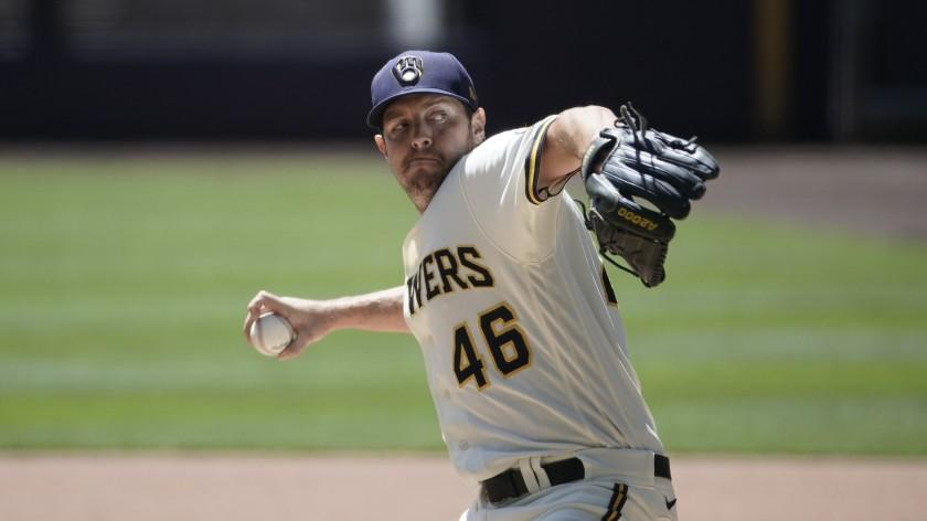 Milwaukee Brewers' Corey Knebel throws during a practice session Monday, July 13, 2020, at Miller Park in Milwaukee. (AP Photo/Morry Gash)