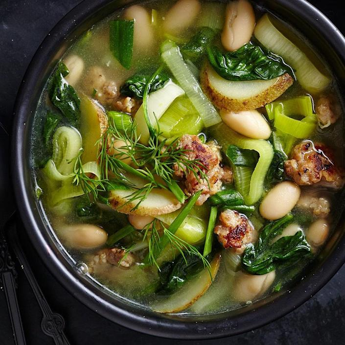 <p>For this light, brothy stew, use the vegetables of late spring and early summer from your CSA share: leeks, potatoes, garlic and spinach. Vary what's in the stew according to the weekly bounty. Serve with: Crusty whole-wheat baguette spread with goat cheese.</p>