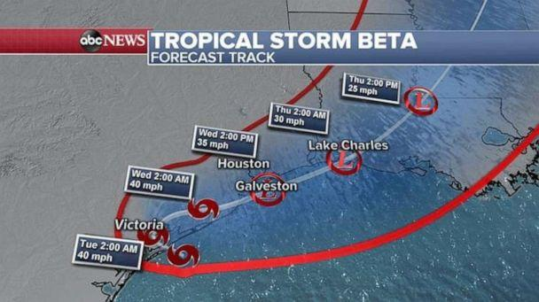 PHOTO: Tropical Storm Beta forecast track, Sept 21, 2020. (ABC News)