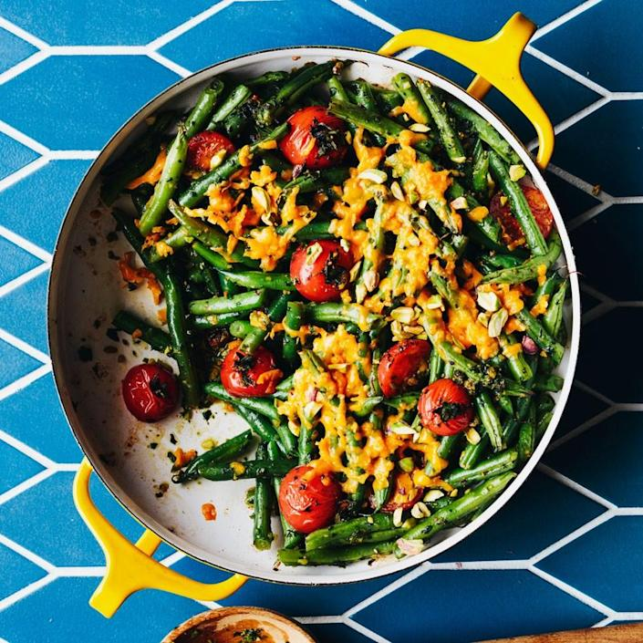 <p>No gloppy canned soup in this healthy green bean casserole recipe. Simply give cilantro, parsley or chives (or a mix of all three) a whirl in the food processor to make the pesto-like sauce that ties the casserole together.</p>