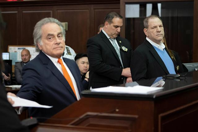 <p>Film producer Harvey Weinstein (R) stands with his lawyer Benjamin Brafman (L) inside Manhattan Criminal Court during his arraignment in Manhattan in New York, May 25, 2018. (Photo: Steven Hirsch/Pool via Reuters) </p>