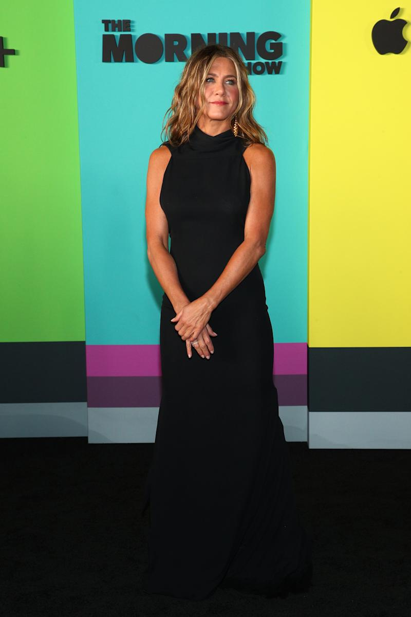 "NEW YORK, NEW YORK - OCTOBER 28: Jennifer Anistonattends Apple TV+'s ""The Morning Show"" World Premiere at David Geffen Hall on October 28, 2019 in New York City. (Photo by Astrid Stawiarz/Getty Images,)"