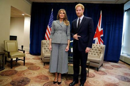 U.S. First Lady Melania Trump meets with Britain's Prince Harry prior to attending the opening ceremony of the Invictus Games in Toronto, Canada September 23, 2017. REUTERS/Jonathan Ernst
