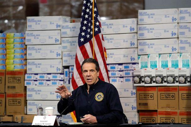 PHOTO: New York Governor Andrew Cuomo speaks in front of stacks of medical protective supplies during a news conference at the Jacob K. Javits Convention Center, in New York. (Mike Segar/Reuters)