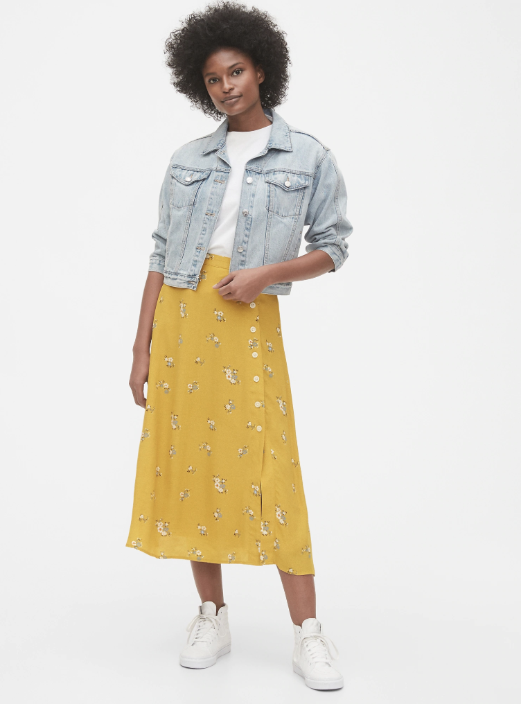 Gap Side-button Midi Skirt in yellow floral