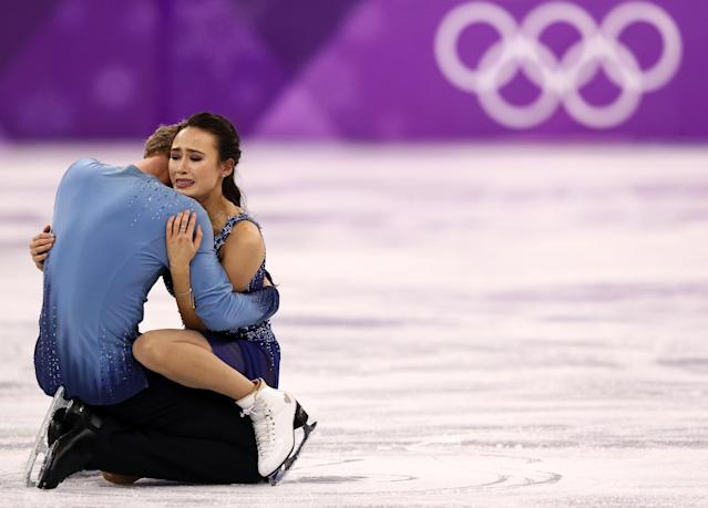 <p>Madison Chock and Evan Bates of the United States compete in the Figure Skating Ice Dance Free Dance on day eleven of the PyeongChang 2018 Winter Olympic Games at Gangneung Ice Arena on February 20, 2018 in Gangneung, South Korea. (Photo by Jamie Squire/Getty Images) </p>