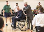 <p>A rare PDA moment between Prince Charles and his son William during a visit to a medical rehab center in Loughborough.</p>