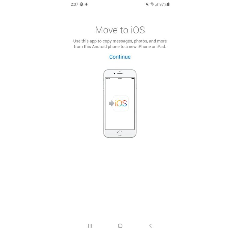 The Move to iOS app is available through the Google Play store. (Image: Apple)