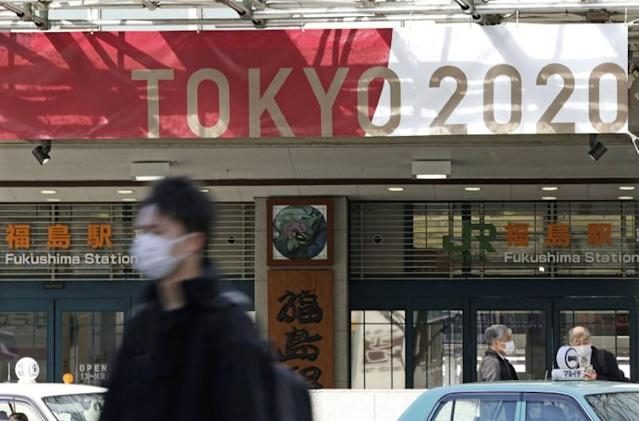 The banner for the 2020 Tokyo Olympics is displayed in front of Fukushima station in Fukushima, Japan