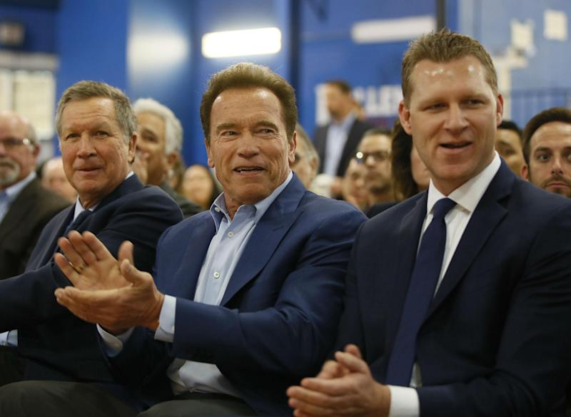 Republican centrists, from left, Ohio Governor John Kasich, former California Governor Arnold Schwarzenegger, and New Way California founder, Assemblyman Chad Mayes, attend the first New Way California Summit: AP