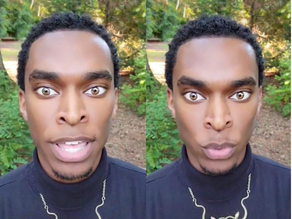 William Knight in two side-by-side images looking directly at the camera - he is wearing a black turtleneck with a forest in the background and has striking golden eyes.