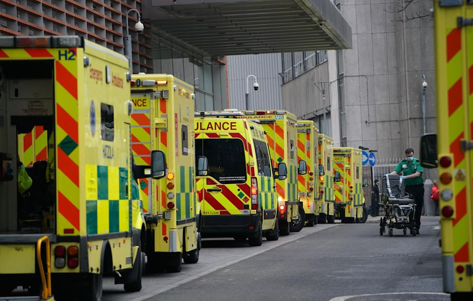 "Ambulances outside the Royal London Hospital, after Mayor of London Sadiq Khan declared a ""major incident"" as the spread of coronavirus threatens to ""overwhelm"" the capital's hospitals."
