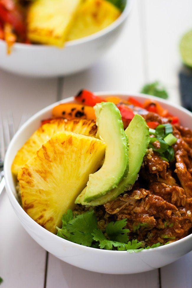 """<p>Let lunch take you on a mini vacation. And with brightly colored pineapple, avocado, and bell pepper, it's also worth an Instagram. </p><p><em><a href=""""http://withsaltandwit.com/pork-burrito-bowls/"""" rel=""""nofollow noopener"""" target=""""_blank"""" data-ylk=""""slk:Get the recipe from With Salt and Wit »"""" class=""""link rapid-noclick-resp"""">Get the recipe from With Salt and Wit »</a></em> </p>"""