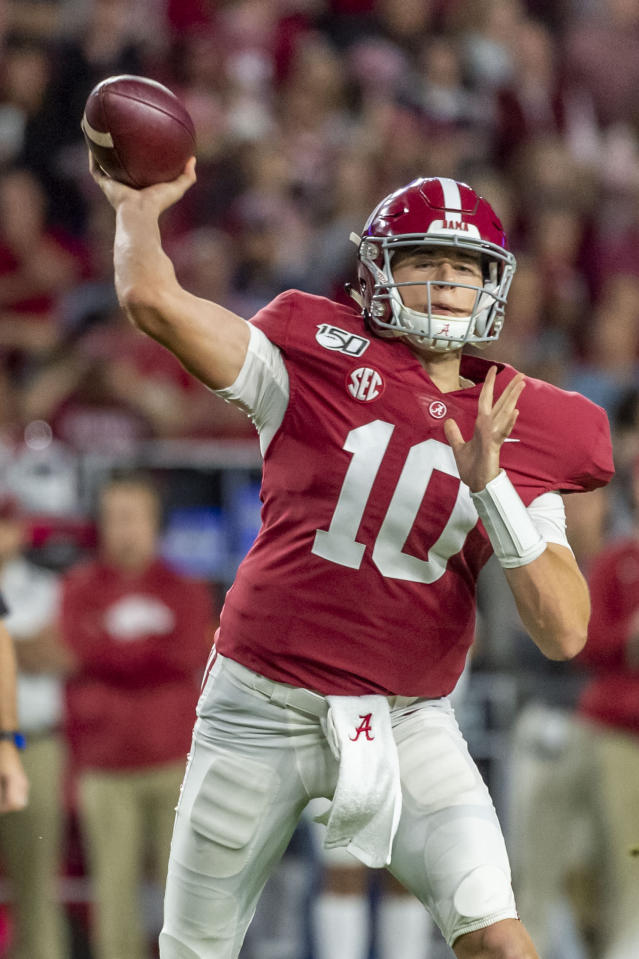 Alabama quarterback Mac Jones (10) throws the ball against Arkansas during the first half of an NCAA college football game, Saturday, Oct. 26, 2019, in Tuscaloosa, Ala. (AP Photo/Vasha Hunt)