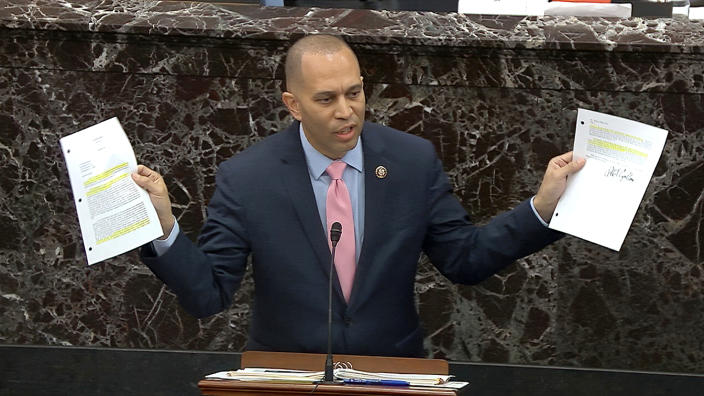 House impeachment manager Rep. Hakeem Jeffries, D-N.Y., answers a question during the impeachment trial against President Donald Trump in the Senate at the U.S. Capitol in Washington onJan. 29, 2020. (Senate Television via AP)