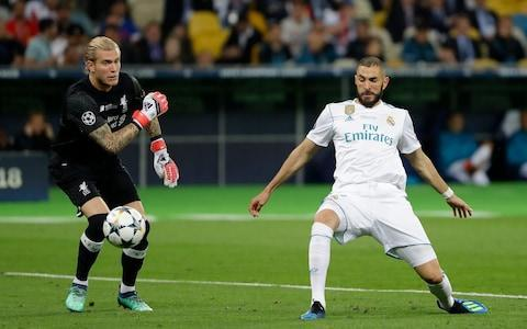 <span>Loris Karius throws the ball straight at Karim Benzema </span> <span>Credit: Reuters </span>