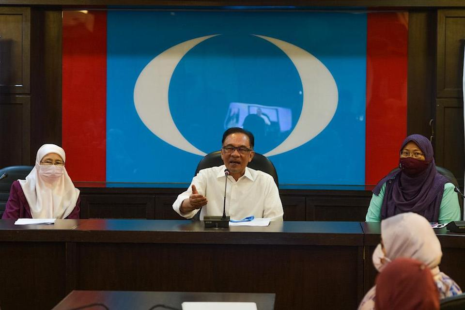 PKR President Datuk Seri Anwar Ibrahim speaks to the press in conjunction with International Women's Day at the PKR headquarters in Petaling Jaya March 8, 2021. Picture — by Miera Zulyana