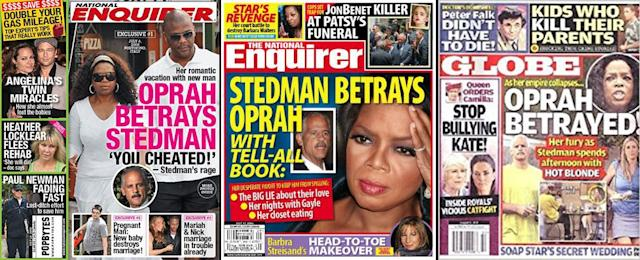Oprah being betrayed — or betraying someone — is a common theme. (Photos: <em>National Enquirer</em>/ <em>Globe</em>)