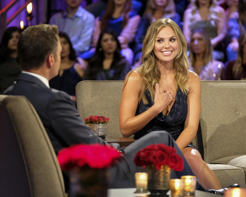 "THE BACHELORETTE: THE MEN TELL - ""The Men Tell All"" - Luke P.'s stunning final standoff in Greece is revealed; and then, the controversial bachelor will take the hot seat opposite Chris Harrison to give his side of the story. The other men, fired up by Luke P.'s self-defense, explode into the vitriolic outburst they have been holding back all season long. The other most memorable bachelors - including Brian, Cam, Connor S., Daron, Devin, Dustin, Grant, Dylan, Garrett, John Paul Jones, Jonathan, Luke S., Matt, Matteo, Mike and Ryan -- return to confront each other and Hannah one last time to dish the dirt, tell their side of the story and share their emotional departures. Finally, as the clock ticks down on Hannah's journey to find love, a special sneak peek of her dramatic final week with Jed, Peter and Tyler C. is featured on ""The Bachelorette: The Men Tell All,"" MONDAY, JULY 22 (8:00-10:01 p.m. EDT), on ABC. (John Fleenor/ABC via Getty Images) HANNAH BROWN"