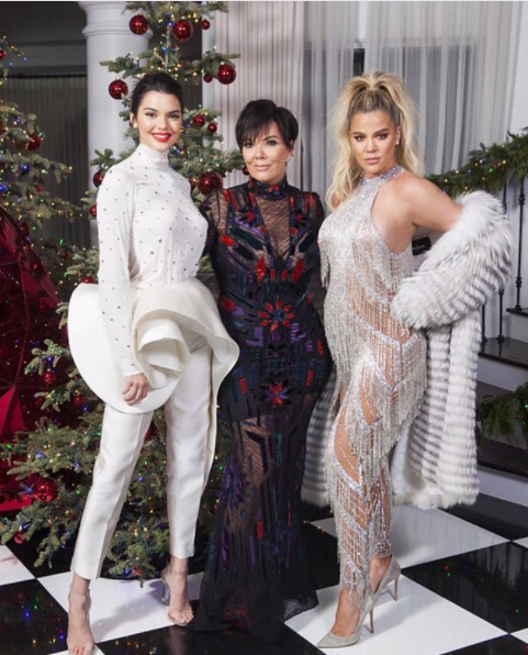 Kris, Kendall and Khloe pose for a xmas snap at Kris' home on Sunday. Source: Instagram