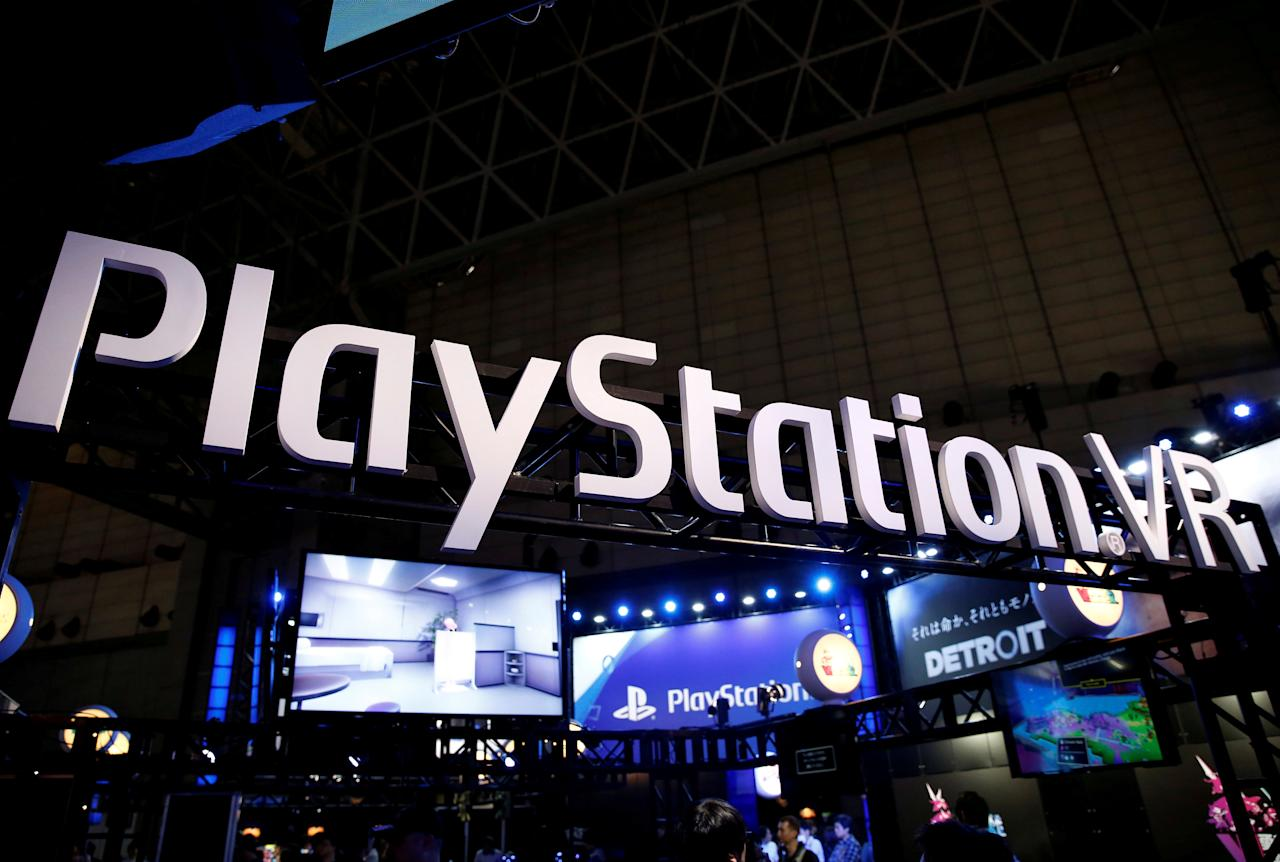 FILE PHOTO: The logo of Sony PlayStation VR is seen at Tokyo Game Show 2017 in Chiba, east of Tokyo, Japan, September 21, 2017.  REUTERS/Kim Kyung-Hoon/File Photo    GLOBAL BUSINESS WEKK AHEAD     SEARCH GLOBAL BUSINESS OCT 30 FOR ALL IMAGES