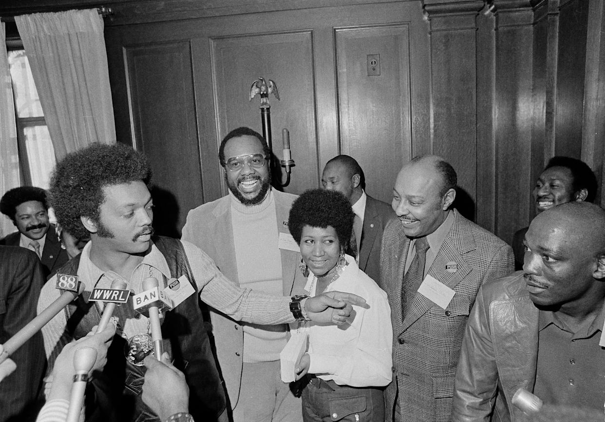 Alongside Rev. Jesse Jackson at the Operation PUSH Soul Picnic at the 142nd Street Armory in New York in 1972.