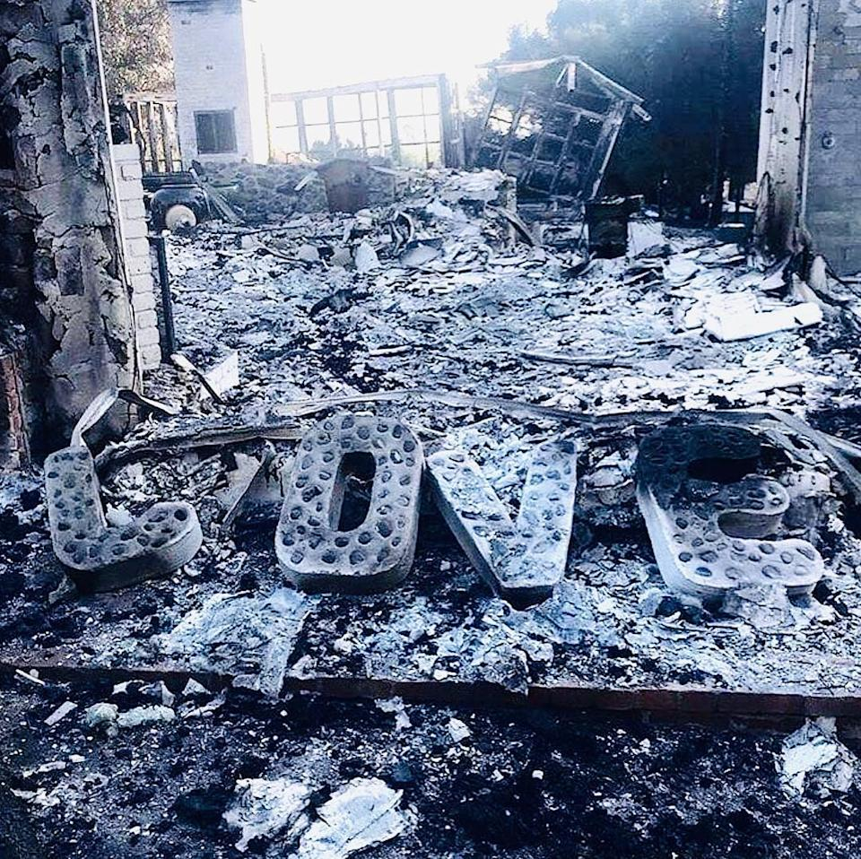 All that was left of Miley and Liam's house after the Californian bushfires destroyed it. Photo: Instagram/LiamHemsworth