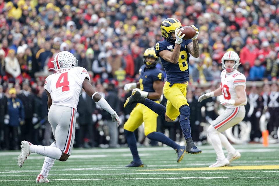 Michigan wide receiver Ronnie Bell makes a catch against Ohio State during the first half at the Michigan Stadium in Ann Arbor, Saturday, Nov. 30, 2019.