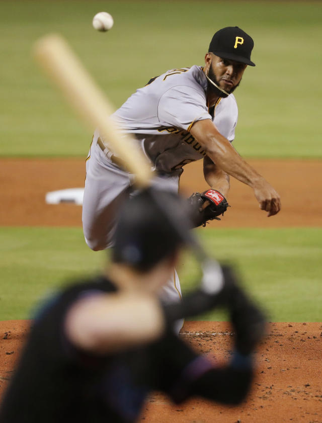 Pittsburgh Pirates' Dario Agrazal pitches to Miami Marlins' Brian Anderson during the first inning of a baseball game Saturday, June 15, 2019, in Miami. (AP Photo/Wilfredo Lee)