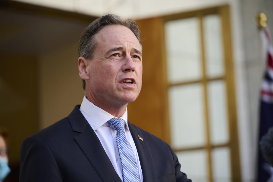 CANBERRA, AUSTRALIA - AUGUST 20: Health Minister Greg Hunt speaks during a press conference on August 20, 2021 in Canberra, Australia. Prime Minister Scott Morrison has confirmed 94 evacuees from Kabul had arrived in Perth in the early hours of this morning as part of Australia's evacuation mission in Afghanistan, with an additional 60 evacuees were transferred from Kabul to the base in the UAE last night, a combination of Australians and Afghan visa holders. (Photo by Rohan Thomson/Getty Images)