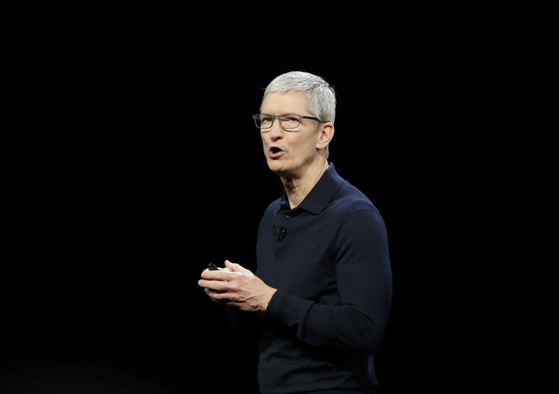 FILE - In this June 4, 2018 file photo, Apple CEO Tim Cook speaks during an announcement of new products at the Apple Worldwide Developers Conference in San Jose, Calif. Apple is expected to announce Monday, March 25, 2019, that it's launching a video service that could compete with Netflix, Amazon and cable TV itself. (AP Photo/Marcio Jose Sanchez, File)