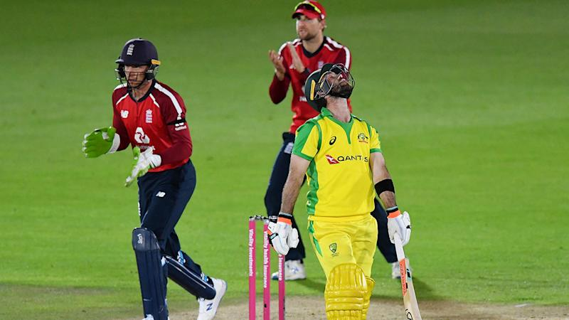 Glenn Maxwell was one of several Australian players to throw their wickets away in the first match of the T20 series against England. (Photo by Dan Mullan/Getty Images)