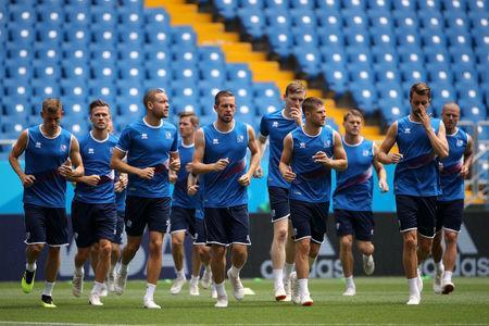 Soccer Football - World Cup - Iceland Training - Rostov Arena, Rostov-on-Don, Russia - June 25, 2018 Iceland players during training REUTERS/Marko Djurica