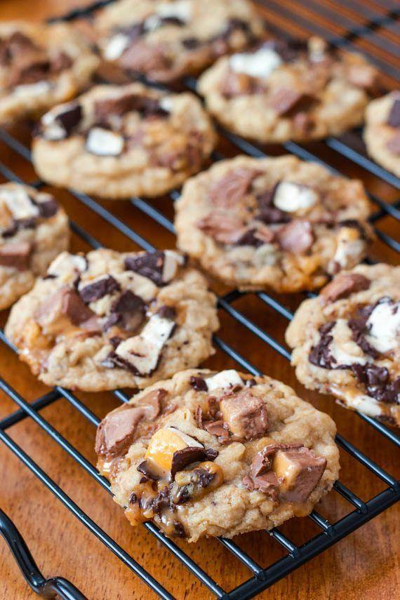 "<p>Milky Ways are an underrated candy—put 'em to good use in these cookies.</p><p>Get the recipe from <a href=""https://sallysbakingaddiction.com/brown-butter-milky-way-oatmeal-cookies/"" rel=""nofollow noopener"" target=""_blank"" data-ylk=""slk:Sally's Baking Addiction"" class=""link rapid-noclick-resp"">Sally's Baking Addiction</a>. </p>"