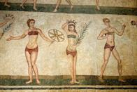 <p>The two-piece was first worn by Greco-Roman women as depicted on urns and paintings dating back to 1400 BC </p>