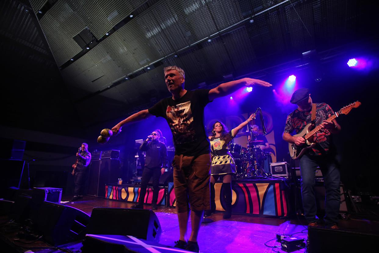 PORTSMOUTH, ENGLAND - NOVEMBER 18:  Paul Ryder and Paul Davis and Shaun Ryder and Rowetta Satchell and Gary Whelan and Bez and Mark Day of Happy Mondays perform at Pyramids on November 18, 2017 in Portsmouth, England.  (Photo by Harry Herd/Redferns)