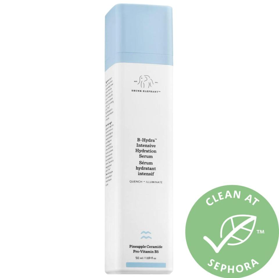 """<p>This <span>Drunk Elephant B-Hydra Intensive Hydration Serum</span> ($48) is hands down my favorite product and the one that sold me on the brand. I love using the lightweight formula as a moisturizer, and it's one of the only things that's helped my hormonal acne. Read <a href=""""https://www.popsugar.com/beauty/Drunk-Elephant-B-Hydra-Intensive-Hydration-Gel-Review-44797872"""" class=""""link rapid-noclick-resp"""" rel=""""nofollow noopener"""" target=""""_blank"""" data-ylk=""""slk:my full review here"""">my full review here</a>.</p>"""