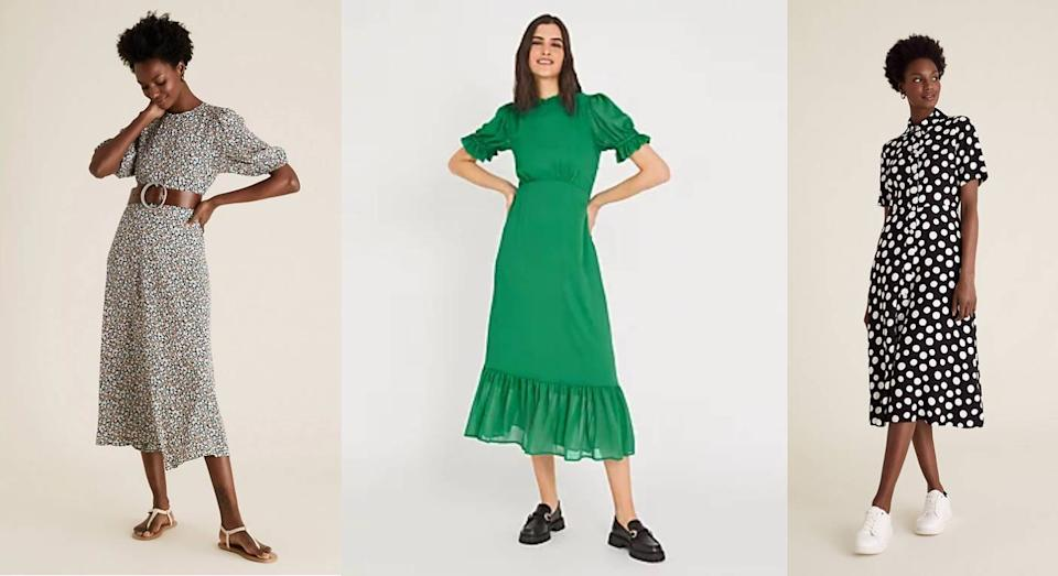 20 new M&S midi dresses we're adding to our basket ASAP. (Marks & Spencer)