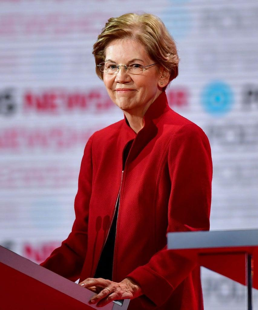 Democratic presidential hopefuls Massachusetts Senator Elizabeth Warren participates of the sixth Democratic primary debate of the 2020 presidential campaign season co-hosted by PBS NewsHour & Politico at Loyola Marymount University in Los Angeles, California on December 19, 2019. (Photo by Frederic J. Brown / AFP) (Photo by FREDERIC J. BROWN/AFP via Getty Images)
