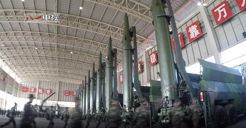 The CCTV documentary showed that the DF-15B short-range ballistic missile brigade had expanded from eight vehicles to 16. Photo: CCTV