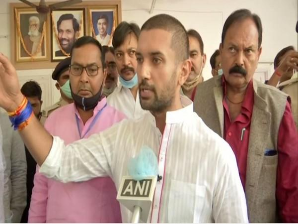 LJP chief Chirag Paswan speaking to ANI on Thursday in Patna. (Photo/ANI)