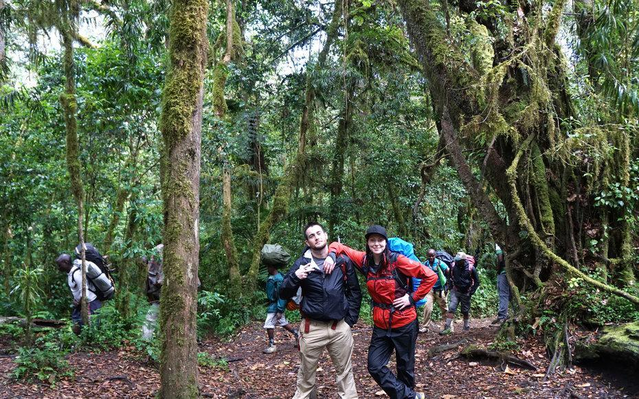 <p>This image is of myself and one of my friends, Robbie Carter. We start our Kilimanjaro climb hiking through the rain forest.</p>