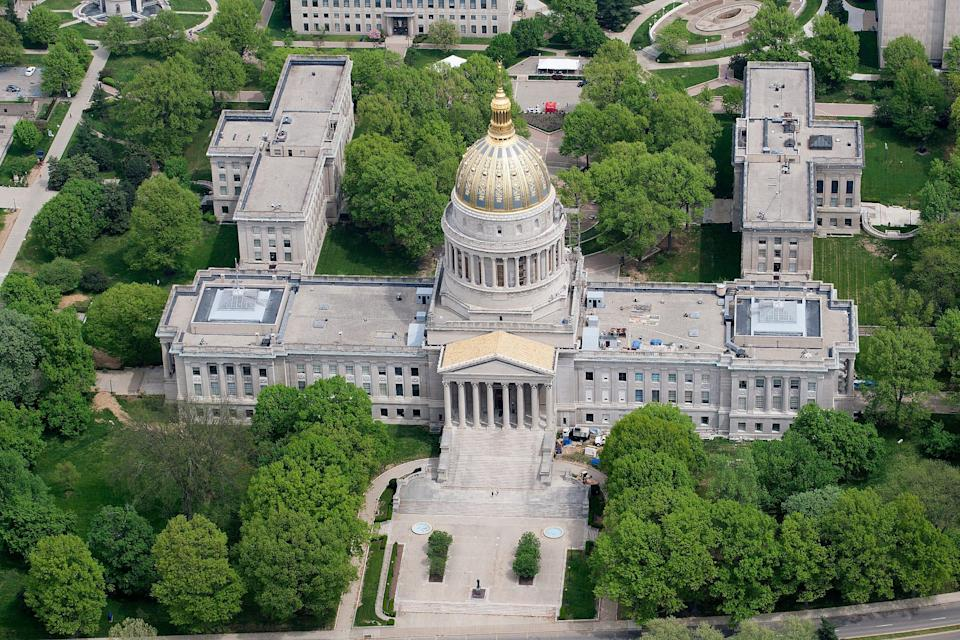 Aerial of West Virginia State Capitol in Charleston, W.Va.
