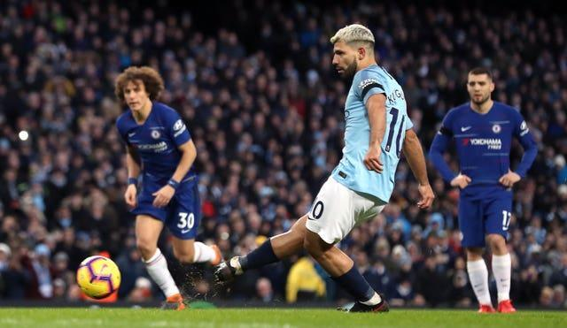 Sergio Aguero completed his hat-trick against Chelsea