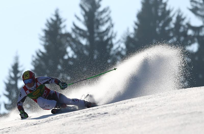 Marcel Hirscher of Austria competes during the first run of an alpine ski men's World Cup giant slalom, in Kranjska Gora, Slovenia, Saturday, March 8, 2014. (AP Photo/Giovanni Auletta)