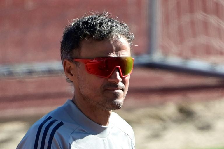 Spain coach Luis Enrique at his team's training session in Madrid on Monday, before they left for London